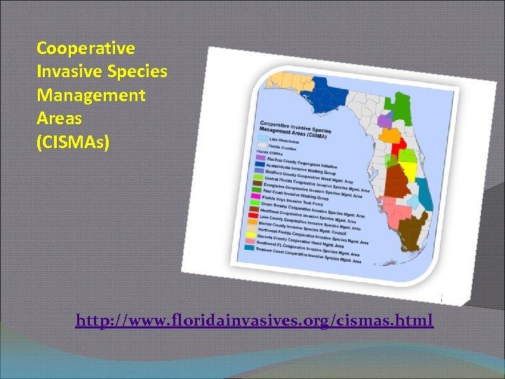 Cooperative Invasive Species Management Areas (CISMAs) http: //www. floridainvasives. org/cismas. html