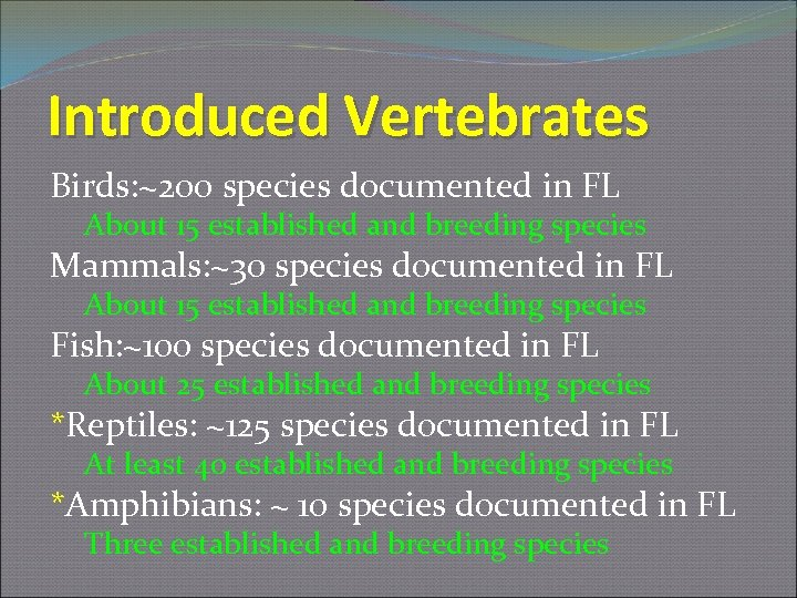 Introduced Vertebrates Birds: ~200 species documented in FL About 15 established and breeding species
