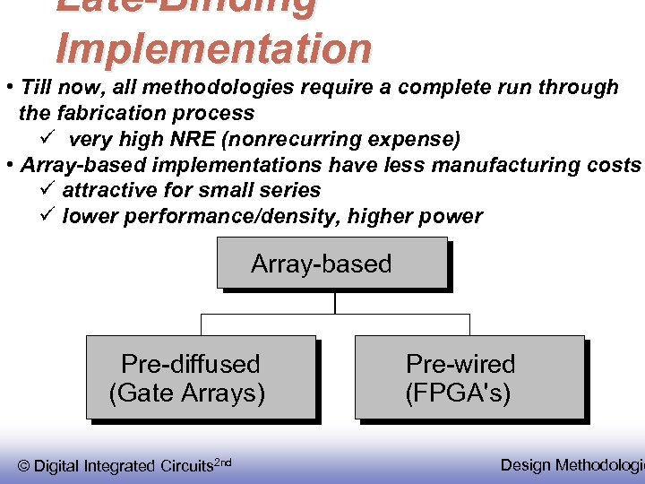 Late-Binding Implementation • Till now, all methodologies require a complete run through the fabrication