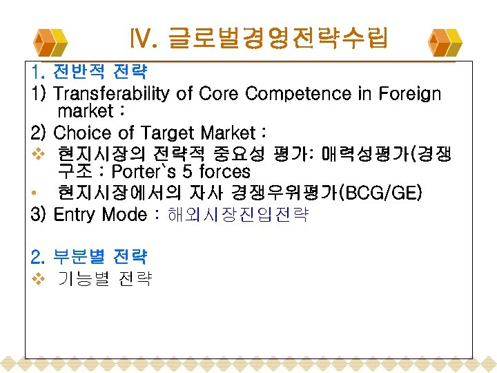 IV. 글로벌경영전략수립 1. 전반적 전략 1) Transferability of Core Competence in Foreign market :