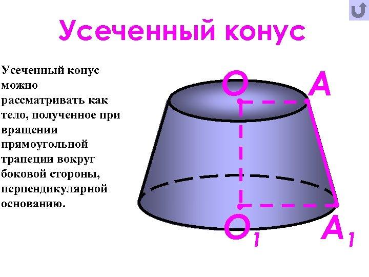Усеченный конус можно рассматривать как тело, полученное при вращении прямоугольной трапеции вокруг боковой стороны,