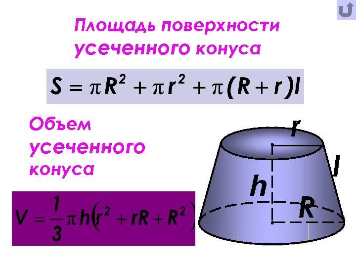 Площадь поверхности усеченного конуса r Объем усеченного конуса h l R