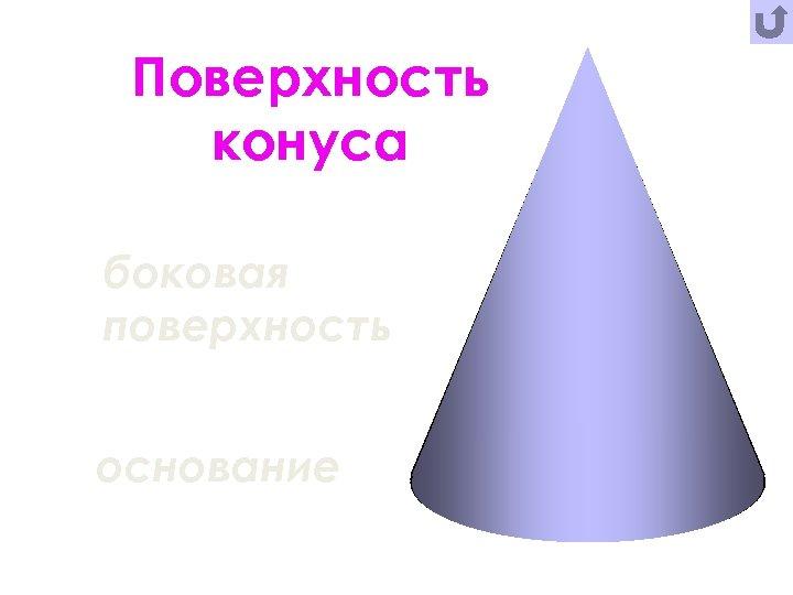 Поверхность конуса боковая поверхность основание