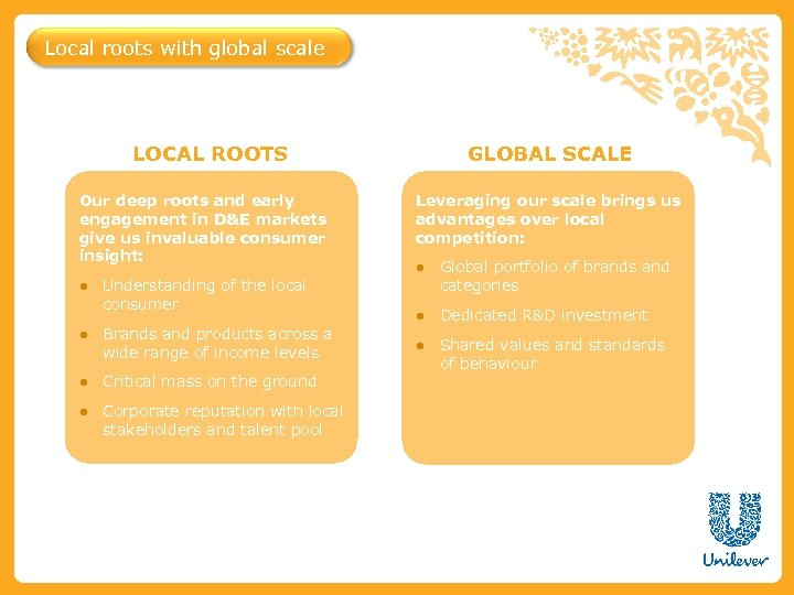 Local roots with global scale LOCAL ROOTS Our deep roots and early engagement in