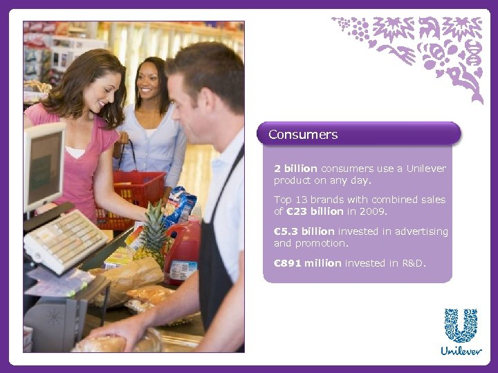 Consumers 2 billion consumers use a Unilever product on any day. Top 13 brands
