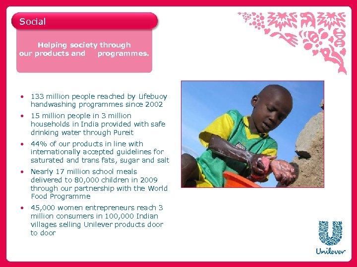 Social Helping society through our products and programmes. • 133 million people reached by
