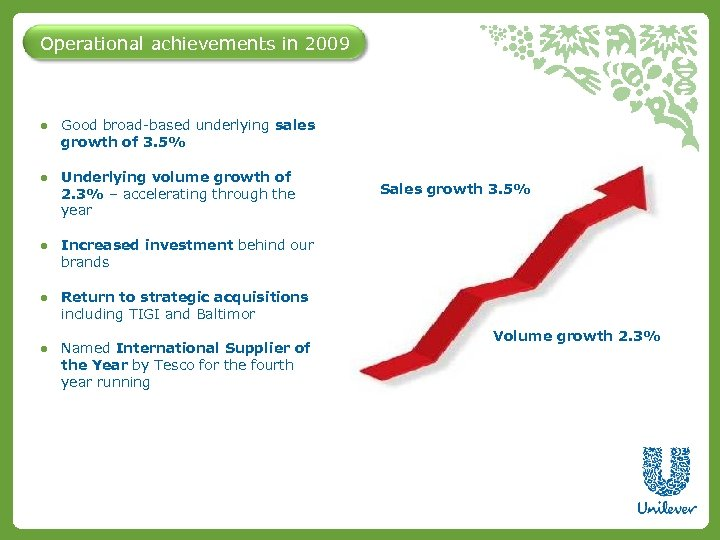 Operational achievements in 2009 ● Good broad-based underlying sales growth of 3. 5% ●