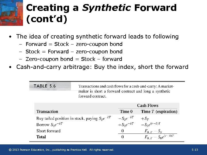 Creating a Synthetic Forward (cont'd) • The idea of creating synthetic forward leads to
