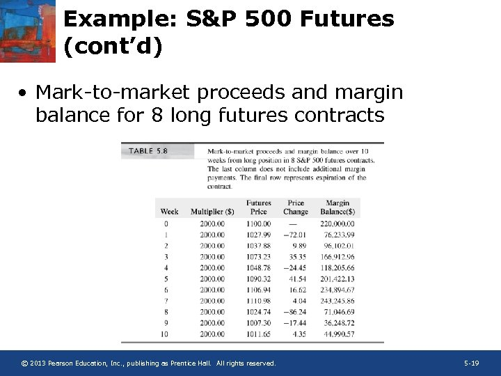 Example: S&P 500 Futures (cont'd) • Mark-to-market proceeds and margin balance for 8 long