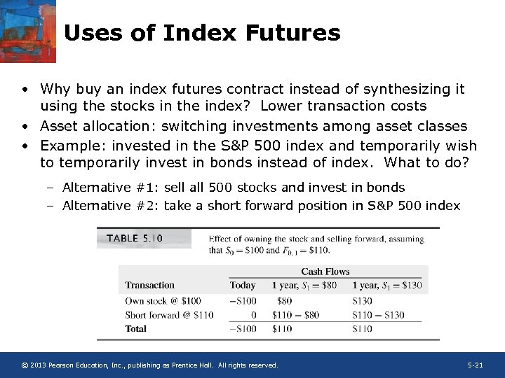 Uses of Index Futures • Why buy an index futures contract instead of synthesizing