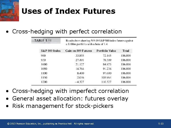Uses of Index Futures • Cross-hedging with perfect correlation • Cross-hedging with imperfect correlation