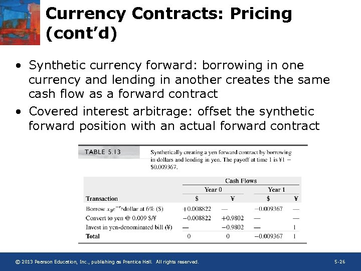 Currency Contracts: Pricing (cont'd) • Synthetic currency forward: borrowing in one currency and lending