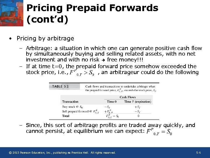 Pricing Prepaid Forwards (cont'd) • Pricing by arbitrage – Arbitrage: a situation in which
