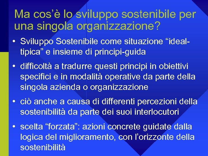 Ma cos'è lo sviluppo sostenibile per una singola organizzazione? • Sviluppo Sostenibile come situazione