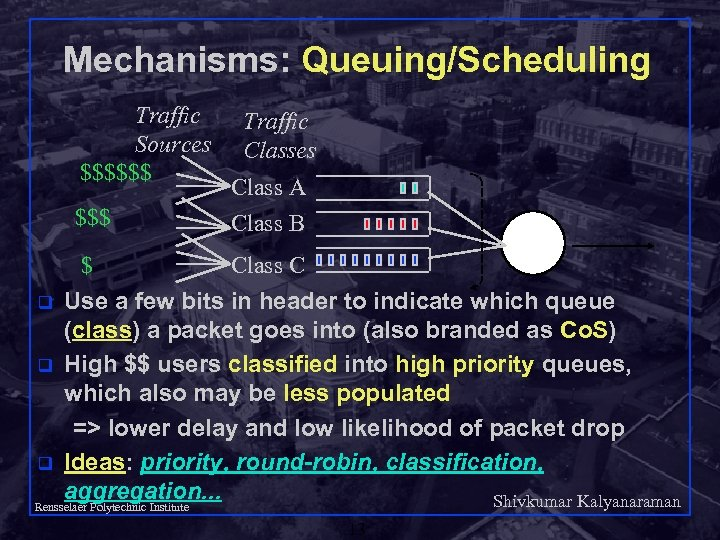 Mechanisms: Queuing/Scheduling Traffic Sources $$$$$$ Traffic Classes $$$ Class A Class B $ Class