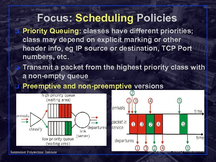 Focus: Scheduling Policies q q q Priority Queuing: classes have different priorities; class may