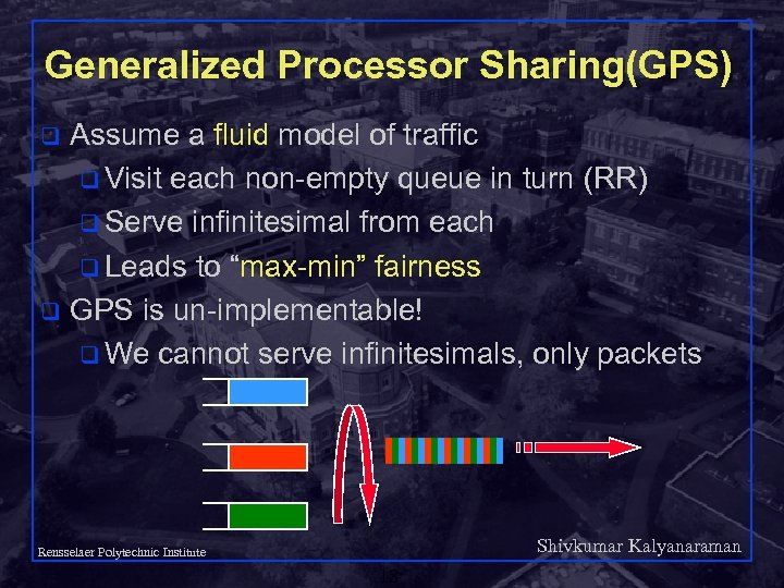 Generalized Processor Sharing(GPS) Assume a fluid model of traffic q Visit each non-empty queue