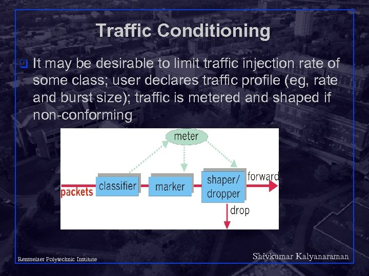 Traffic Conditioning q It may be desirable to limit traffic injection rate of some