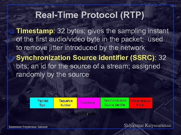 Real-Time Protocol (RTP) Timestamp: 32 bytes; gives the sampling instant of the first audio/video