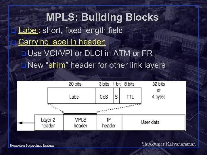 MPLS: Building Blocks Label: short, fixed length field q Carrying label in header: q