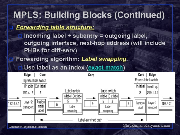 MPLS: Building Blocks (Continued) q o Forwarding table structure: o Incoming label + subentry