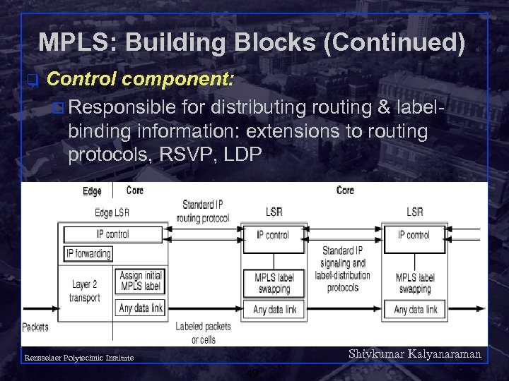 MPLS: Building Blocks (Continued) q Control component: o Responsible for distributing routing & labelbinding