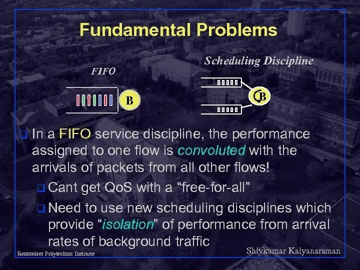 Fundamental Problems Scheduling Discipline FIFO B B q In a FIFO service discipline, the