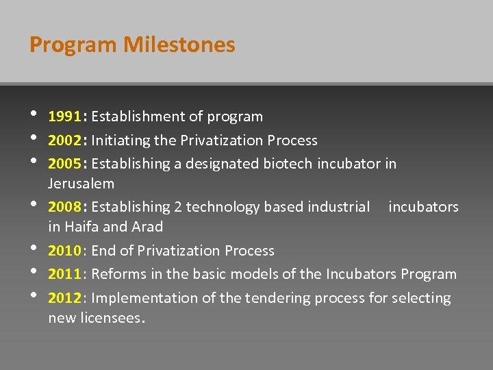 Program Milestones • • 1991: Establishment of program 2002: Initiating the Privatization Process 2005: