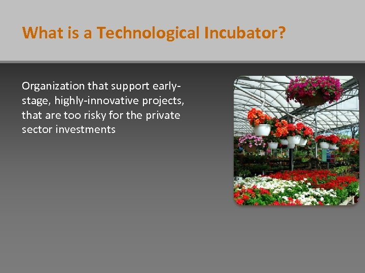 What is a Technological Incubator? Organization that support earlystage, highly-innovative projects, that are too