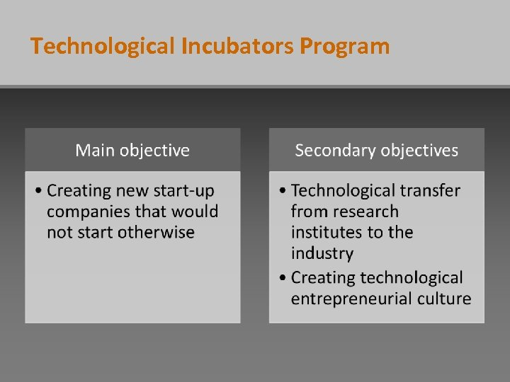 Technological Incubators Program