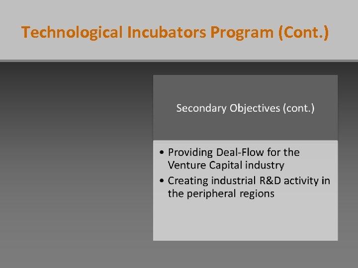 Technological Incubators Program (Cont. )