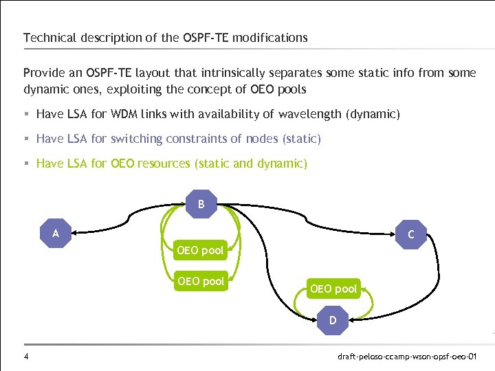 Technical description of the OSPF-TE modifications Provide an OSPF-TE layout that intrinsically separates some