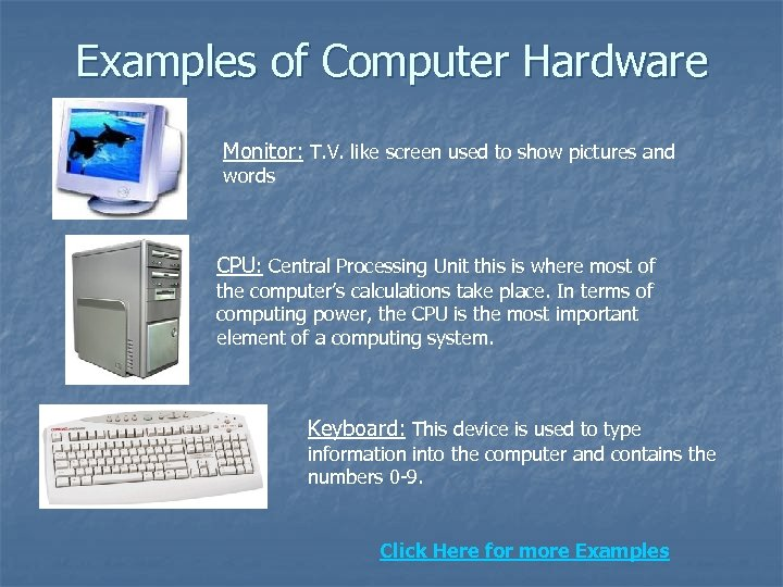 Examples of Computer Hardware Monitor: T. V. like screen used to show pictures
