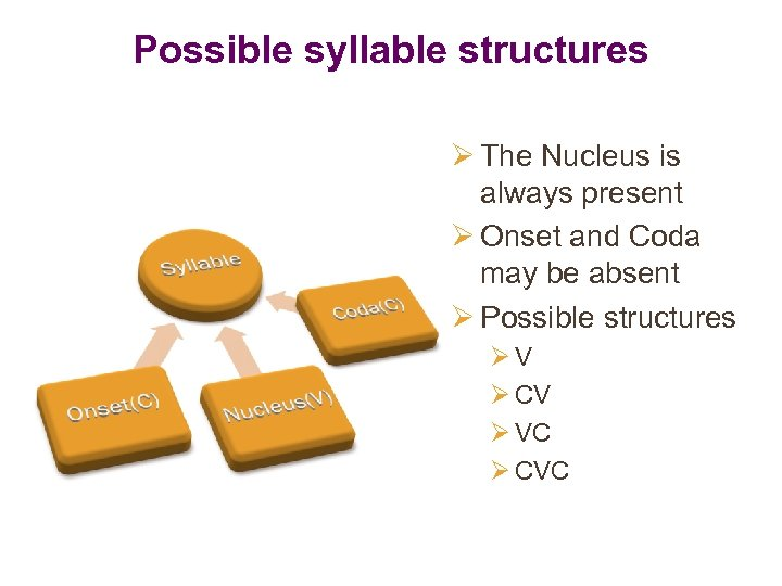 Possible syllable structures Ø The Nucleus is always present Ø Onset and Coda may