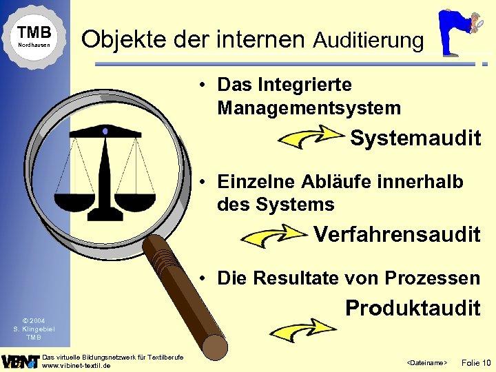 TMB Nordhausen Objekte der internen Auditierung • Das Integrierte Managementsystem Systemaudit • Einzelne Abläufe