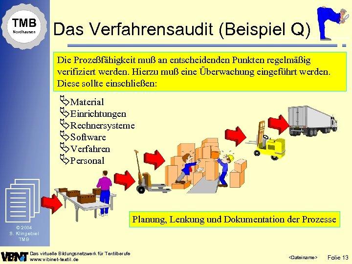 TMB Nordhausen Das Verfahrensaudit (Beispiel Q) Die Prozeßfähigkeit muß an entscheidenden Punkten regelmäßig verifiziert