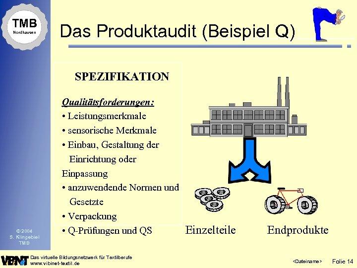 TMB Nordhausen Das Produktaudit (Beispiel Q) SPEZIFIKATION © 2004 S. Klingebiel TMB Qualitätsforderungen: •