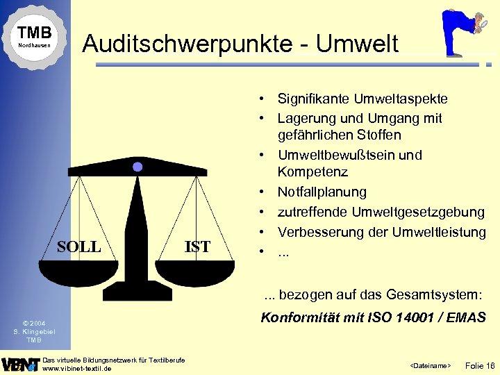 TMB Nordhausen Auditschwerpunkte - Umwelt SOLL IST • Signifikante Umweltaspekte • Lagerung und Umgang