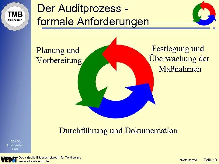 TMB Nordhausen Der Auditprozess formale Anforderungen Planung und Vorbereitung Festlegung und Überwachung der Maßnahmen