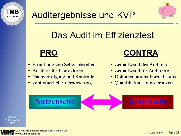 TMB Auditergebnisse und KVP Nordhausen Das Audit im Effizienztest PRO • • Ermittlung von