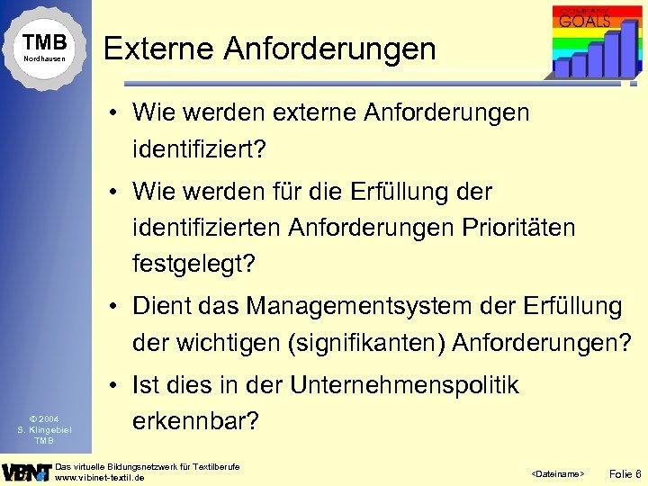 TMB Nordhausen Externe Anforderungen • Wie werden externe Anforderungen identifiziert? • Wie werden für