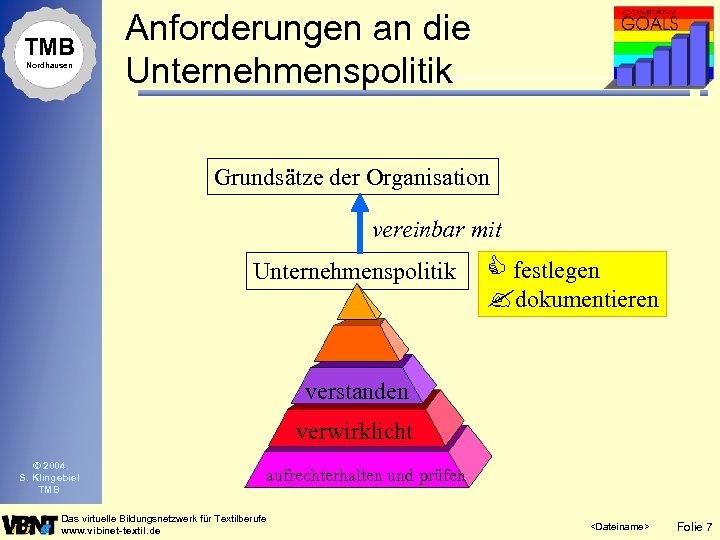 TMB Nordhausen Anforderungen an die Unternehmenspolitik Grundsätze der Organisation vereinbar mit Unternehmenspolitik C festlegen