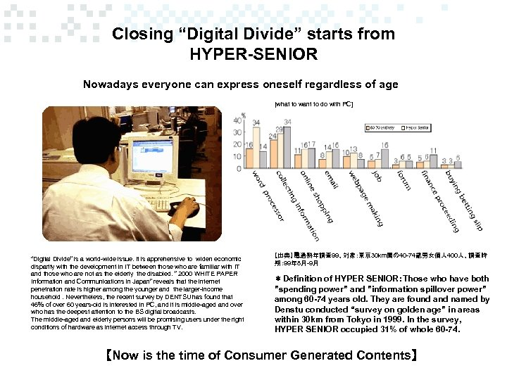 """Closing """"Digital Divide"""" starts from HYPER-SENIOR Nowadays everyone can express oneself regardless of age"""