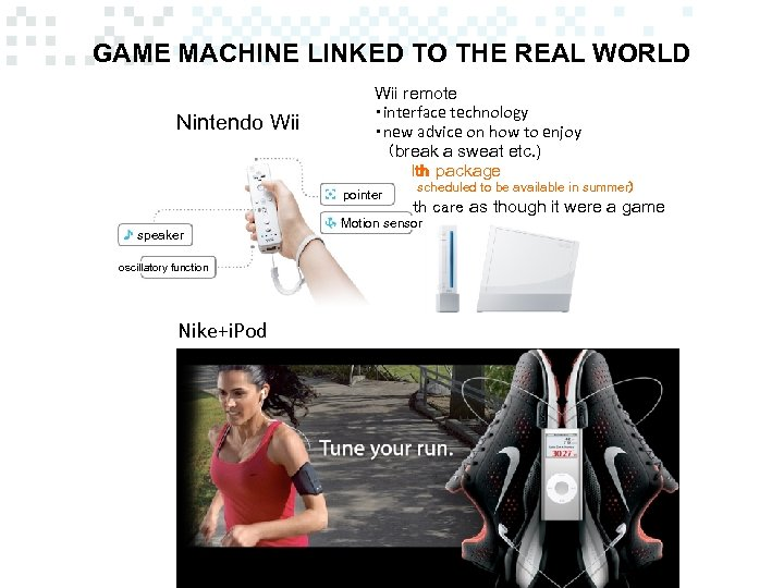 GAME MACHINE LINKED TO THE REAL WORLD Nintendo Wii remote ・interface technology ・new advice