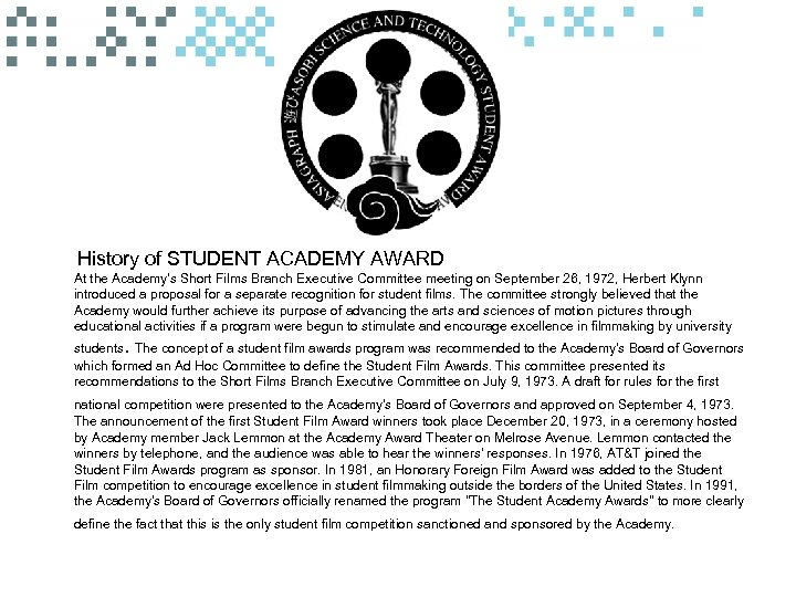 History of STUDENT ACADEMY AWARD At the Academy's Short Films Branch Executive Committee