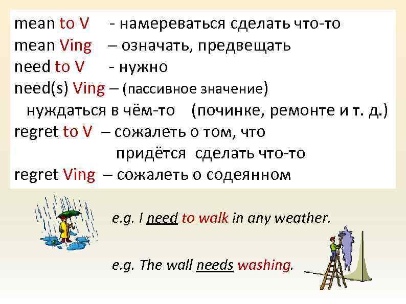 mean to V - намереваться сделать что-то mean Ving – означать, предвещать need to