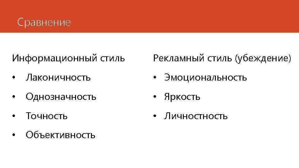Сравнение Информационный стиль Рекламный стиль (убеждение) • Лаконичность • Эмоциональность • Однозначность • Яркость