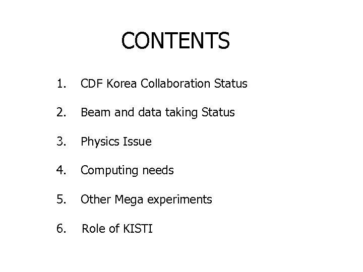 CONTENTS 1. CDF Korea Collaboration Status 2. Beam and data taking Status 3. Physics