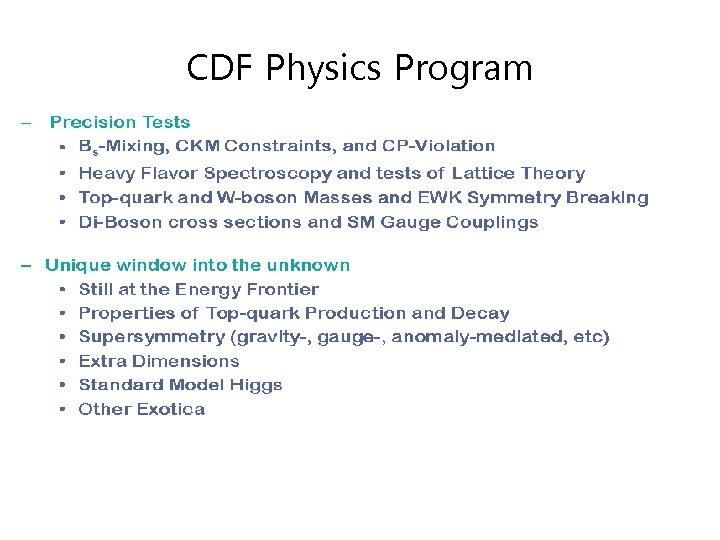 CDF Physics Program