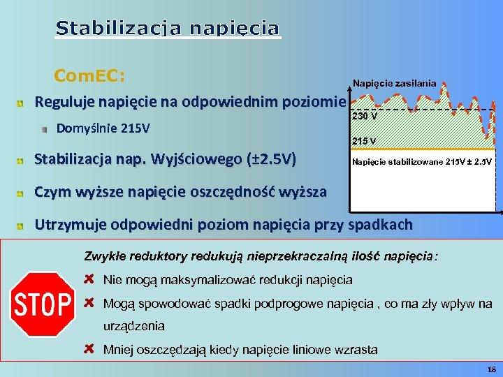 Stabilizacja napięcia Com. EC: Napięcie zasilania Reguluje napięcie na odpowiednim poziomie Domyślnie 215 V